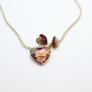 Jewelry - Red Heart Butterfly Gold Necklace & Earring Set